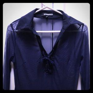 Anatomie S Navy Blue Mesh Travel Shirt